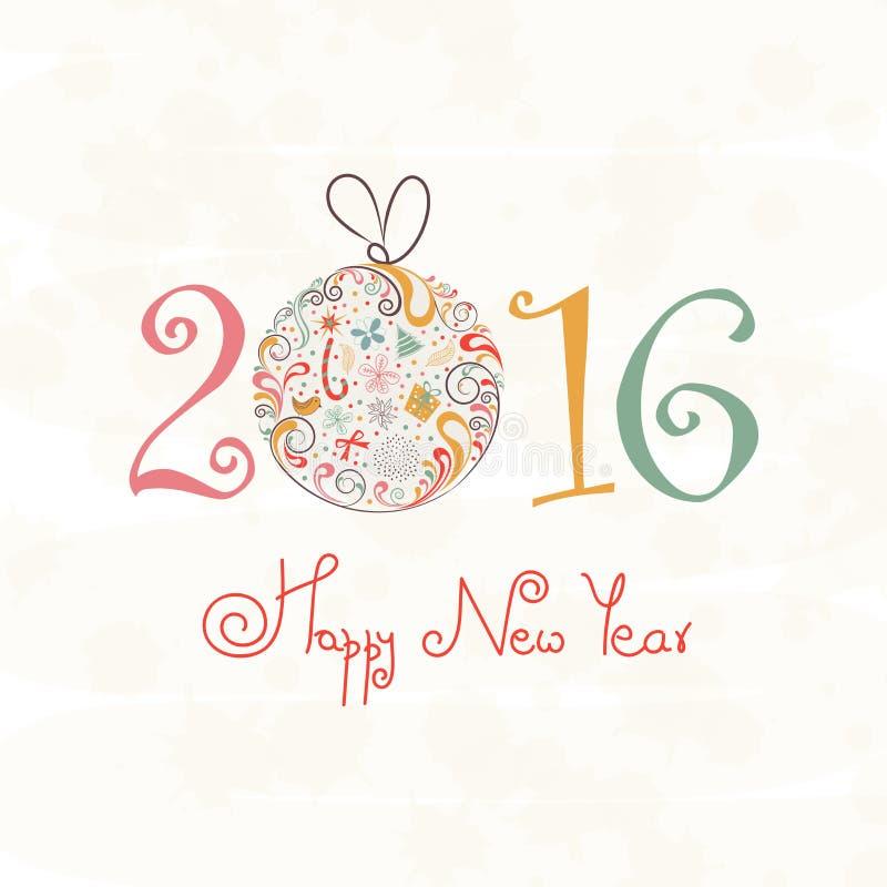 Download 新年快乐的贺卡2016年 库存例证. 插画 包括有 植物群, 钞票, 抽象, 礼品, 问候, 邀请, 庆祝 - 62528525