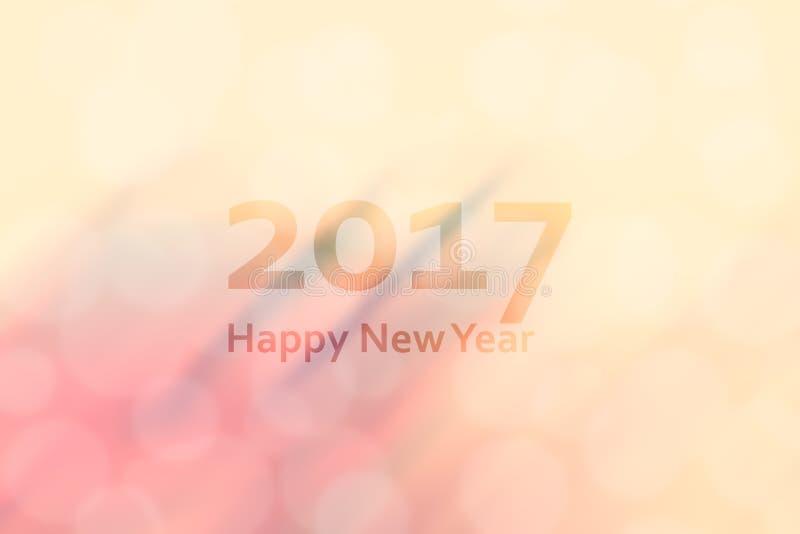 新年快乐2017年 与行动迷离和bo的抽象背景 免版税库存图片