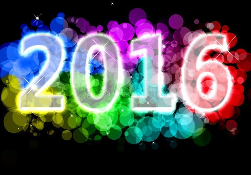 新年快乐- 2016五颜六色的前提 向量例证