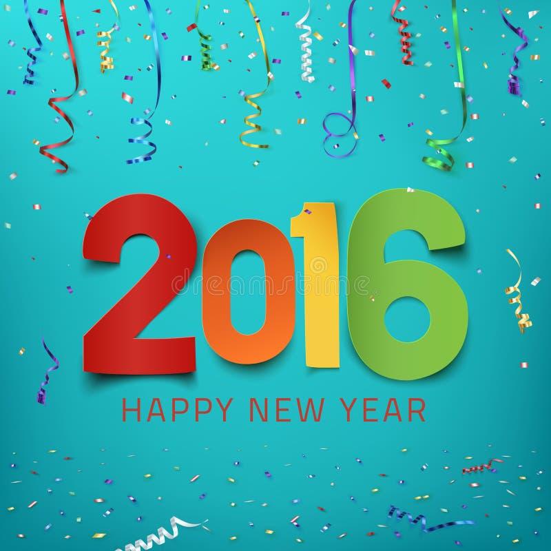 新年快乐2016年 五颜六色的纸的类型 皇族释放例证