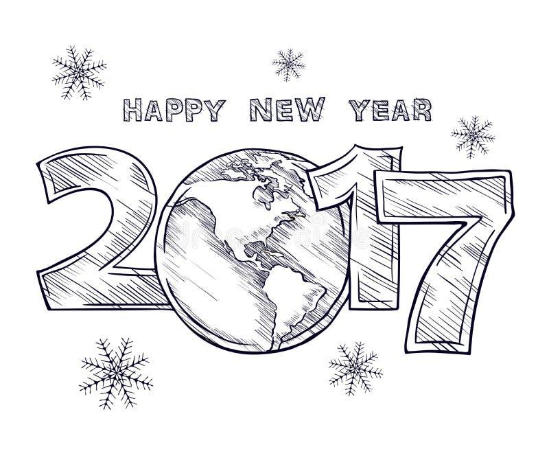 新年快乐2017剪影地球外形图 皇族释放例证
