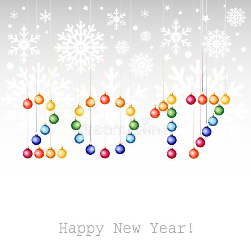 2017年新年快乐贺卡或背景与圣诞节b 库存例证