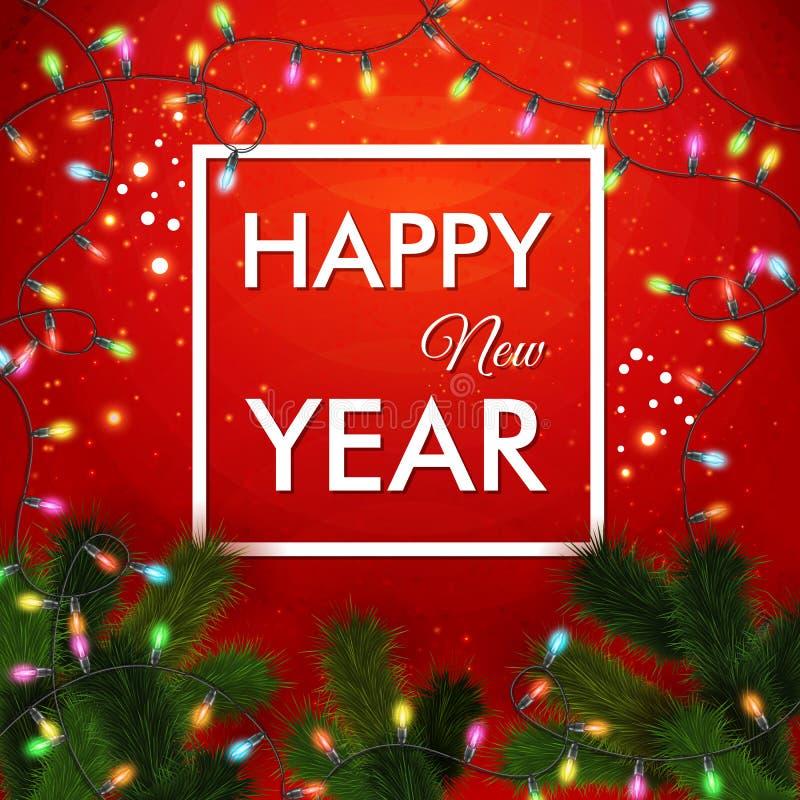 新年快乐2015卡片 明亮的红色墙纸 皇族释放例证