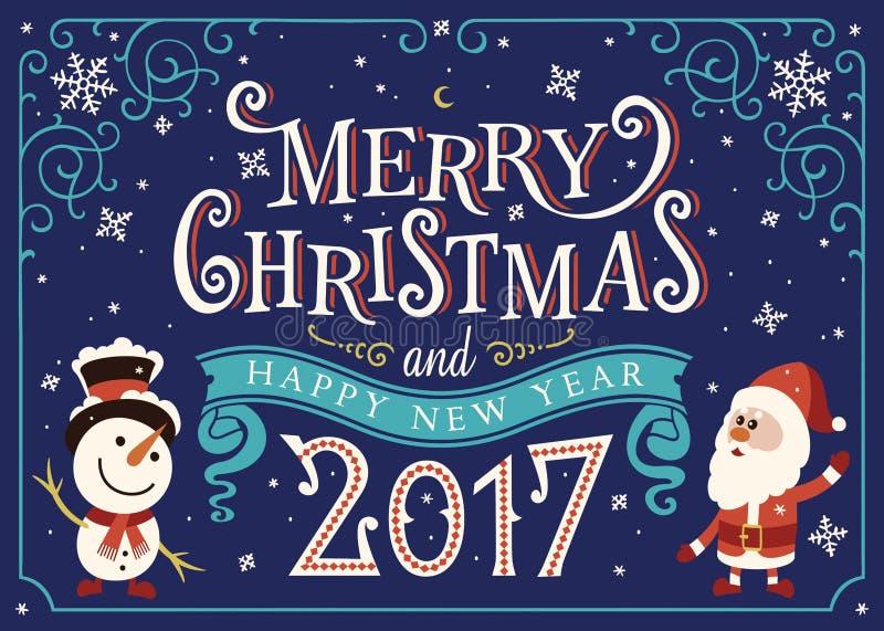 2017年新年快乐 贺卡,圣诞卡 库存例证