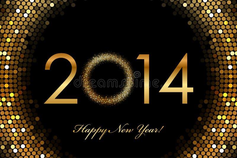 2014年新年快乐2014年发光的背景 库存例证