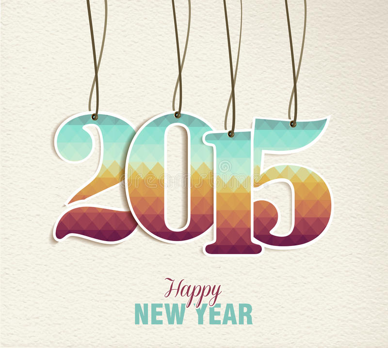 新年快乐2015吊标记葡萄酒卡片 向量例证