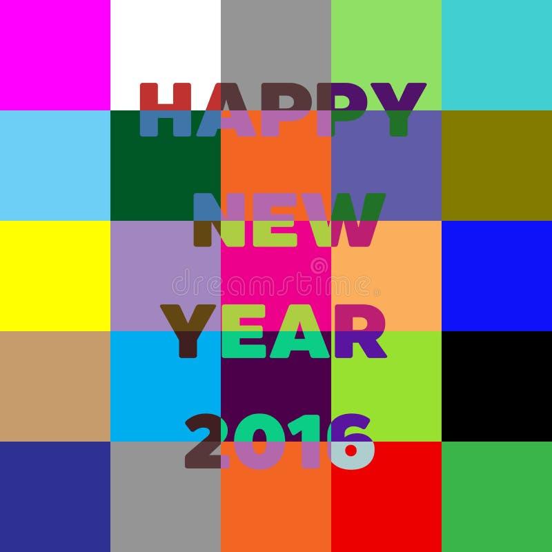 新年快乐2016年在上写字的贺卡 五颜六色的块 库存例证