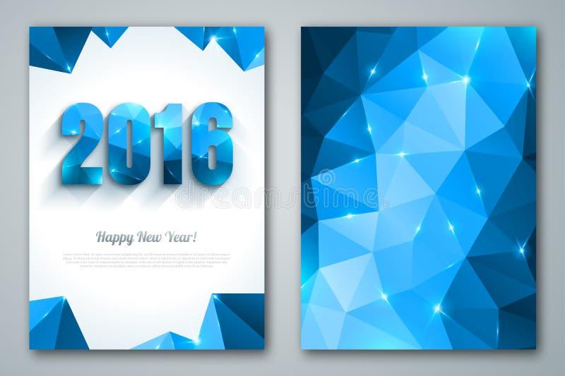 新年快乐2016年在多角形的贺卡 库存例证