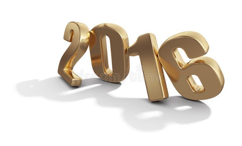 新年快乐2016年 在白色的金黄3D数字 皇族释放例证