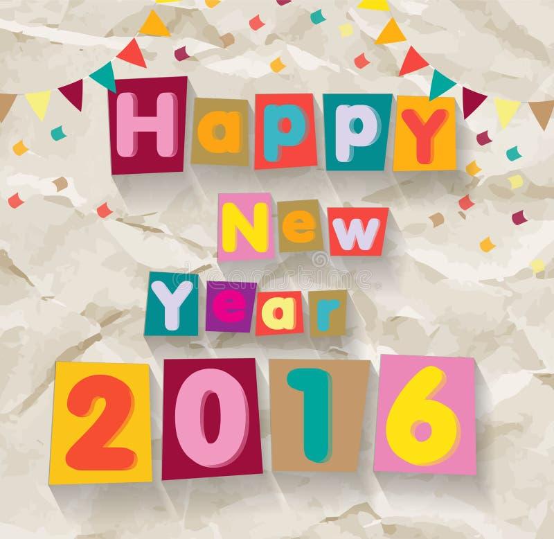 新年快乐2016年 在被弄皱的纸背景的五颜六色的字体 向量例证