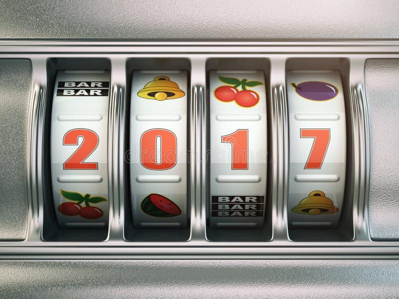 新年快乐2017年在赌博娱乐场 有第的老虎机2017年 皇族释放例证