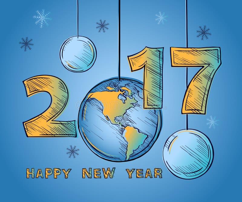 新年快乐2017年地球和圣诞节球 库存例证