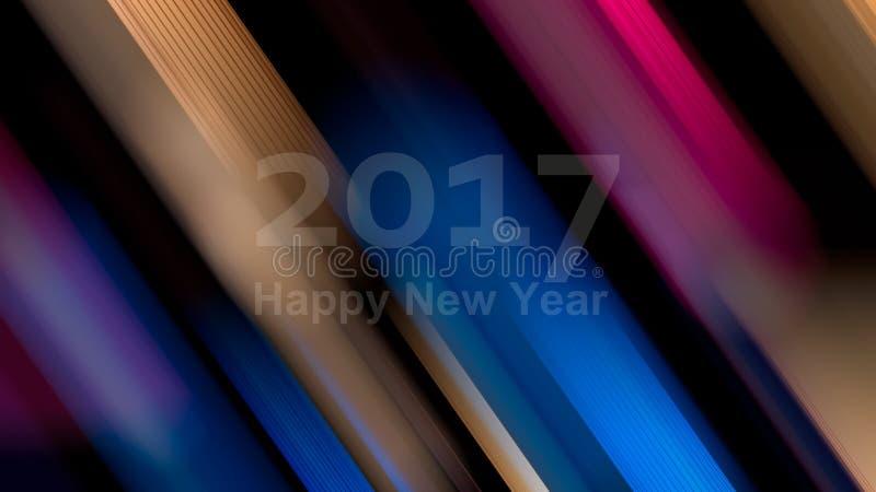 新年快乐2017年 抽象艺术性的背景 Defocused col 库存照片
