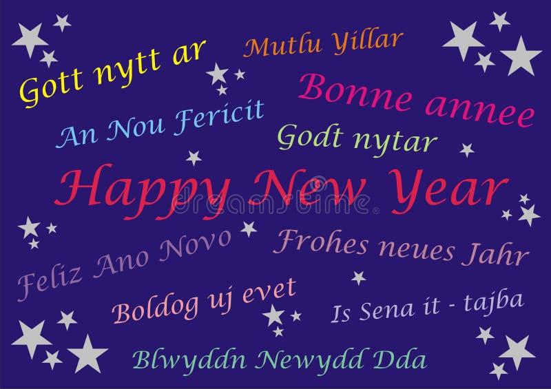 新年快乐-横幅卡片-多语言 库存照片