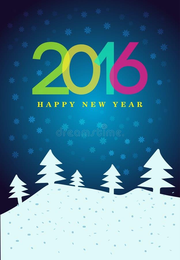 新年快乐2016年海报 在背景的五颜六色的类型与雪花 8个看板卡eps文件招呼的包括的模板 也corel凹道例证向量 皇族释放例证