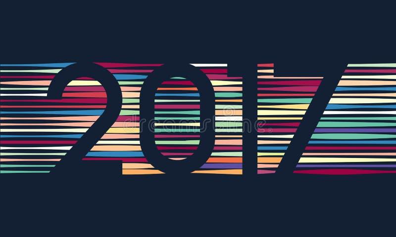 新年快乐2017年背景 日历装饰 2007个看板卡招呼的新年好 中国日历模板年雄鸡 库存例证
