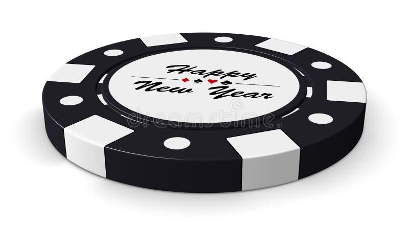 新年快乐黑色赌博娱乐场芯片 库存例证
