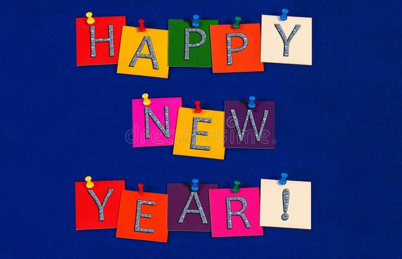 新年快乐!除夕庆祝的标志 免版税库存图片