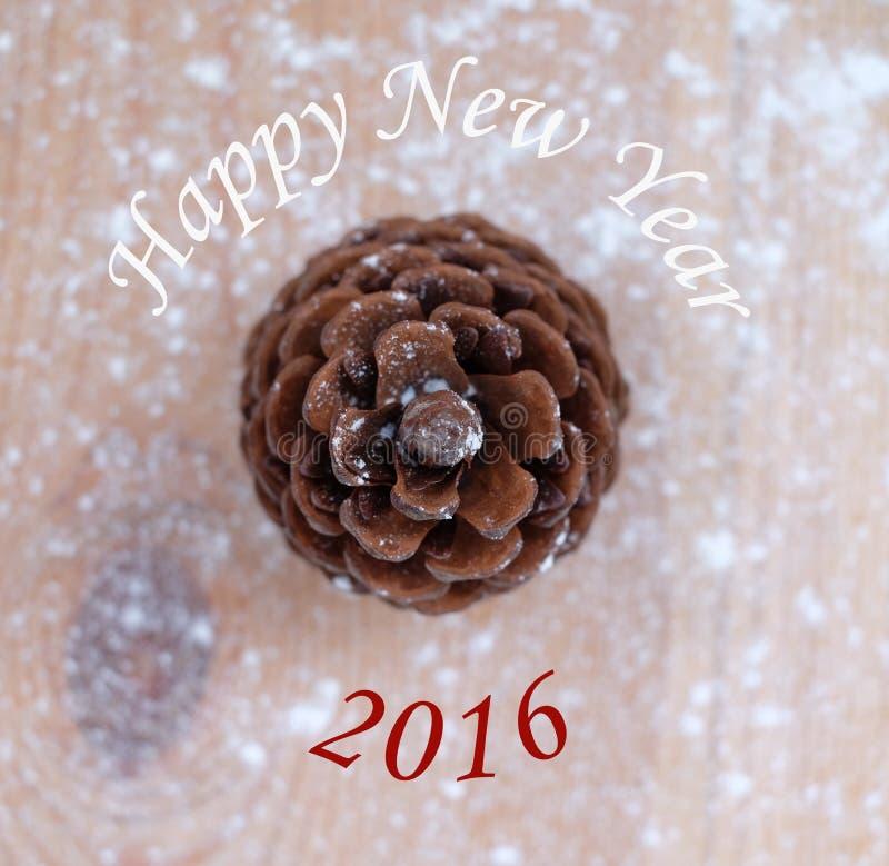 新年快乐2016年,在雪的一个团 库存照片