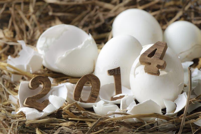 新年快乐2014年,蛋概念 库存图片