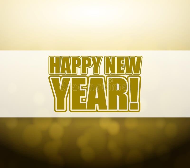 新年快乐bokeh光标志 库存例证