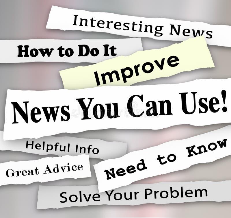 新闻您能使用报纸大标题文章有用的信息 皇族释放例证