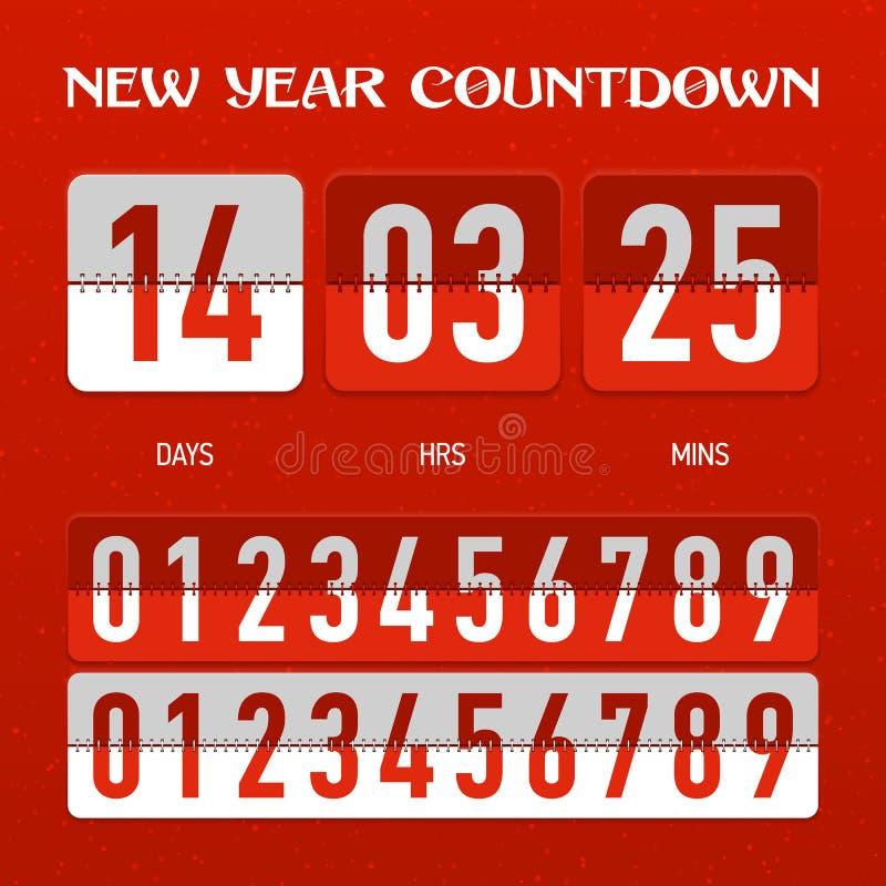 新年或圣诞节读秒定时器 库存例证