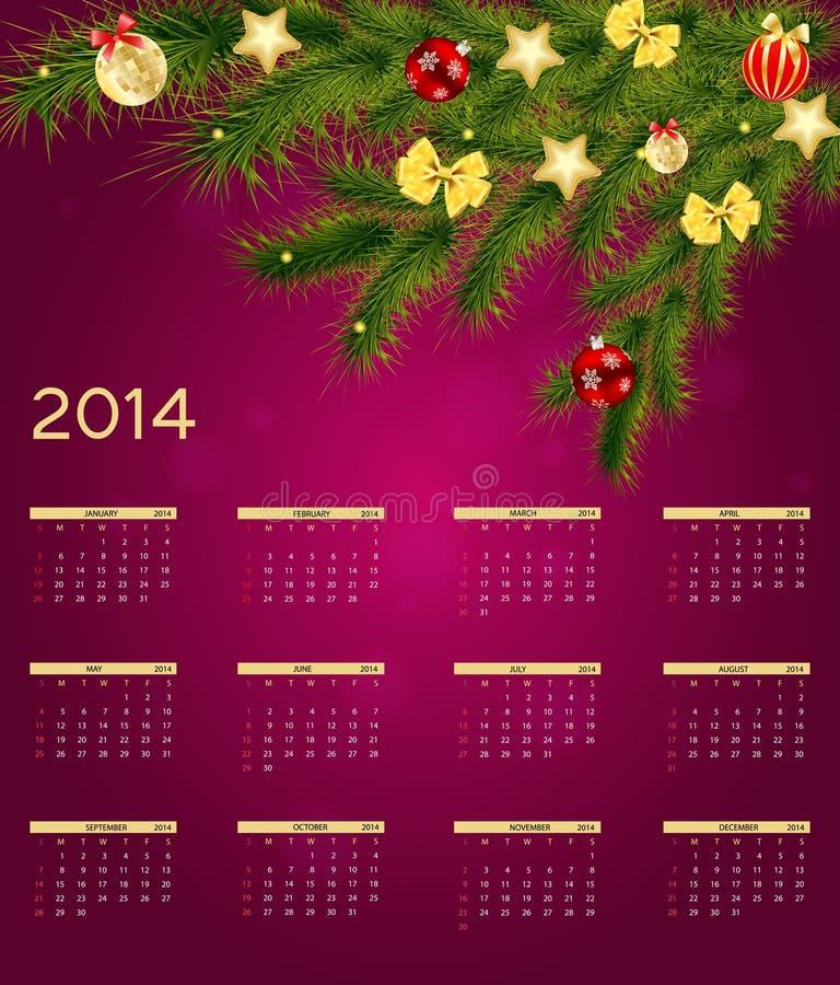 2014新年日历传染媒介例证 向量例证
