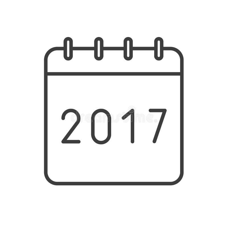 新年2017日历线性象 库存例证