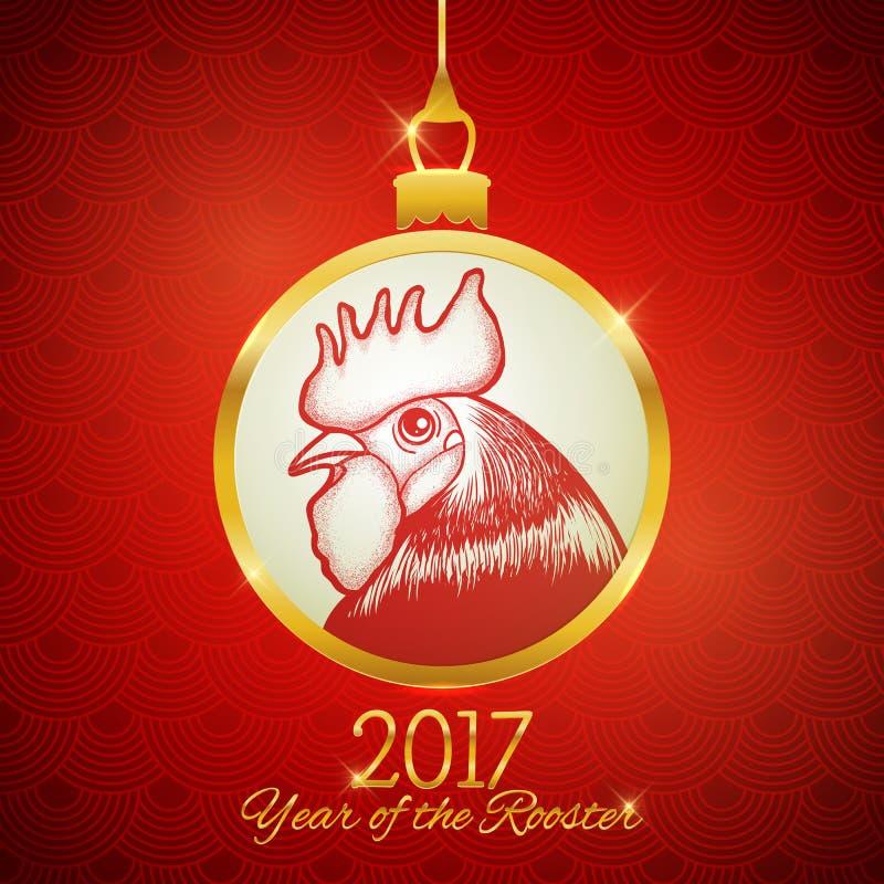 新年2017年明信片设计,手拉的红色雄鸡标志 皇族释放例证