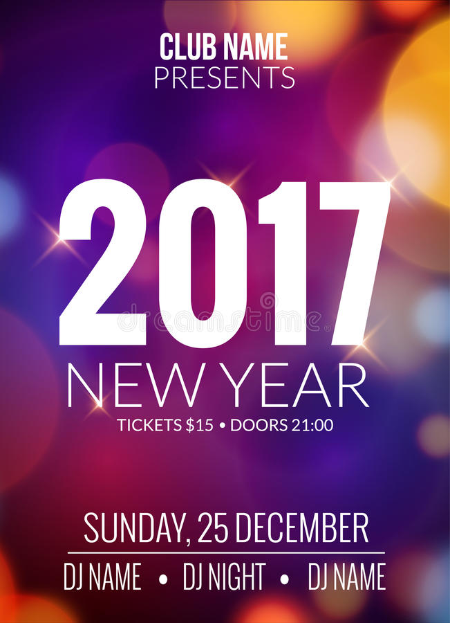 新年晚会设计横幅 事件庆祝飞行物模板bokeh光 新年欢乐海报邀请2017年 皇族释放例证
