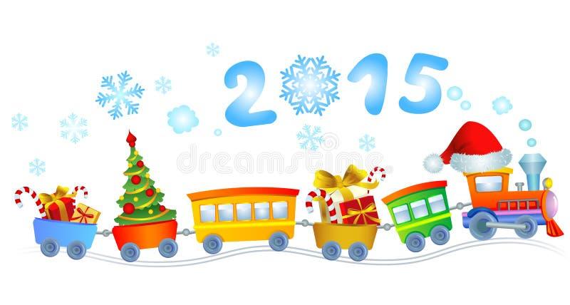 新年的火车 向量例证