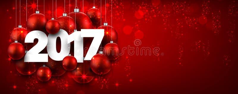 2017新年红色横幅 向量例证
