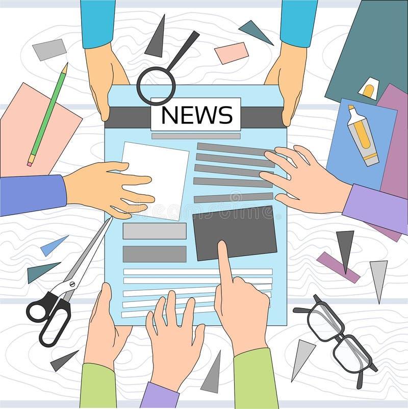 新闻编辑书桌工作区,做创造文章文字新闻工作者的报纸乘员组,递队小组 库存例证