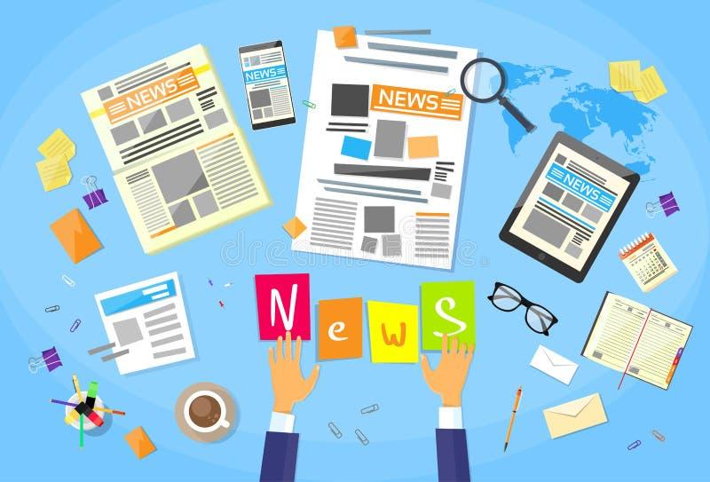 新闻编辑书桌工作区,概念做 库存例证