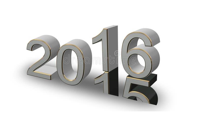 新年2016年-色的3D在白色背景编号 向量例证