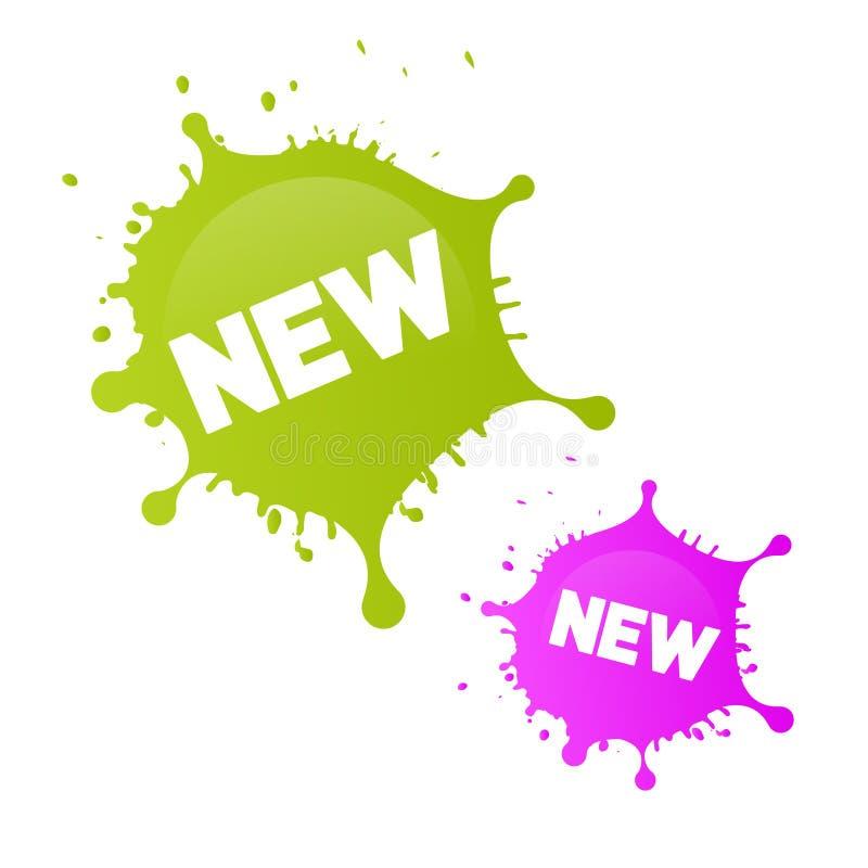 新绿色,桃红色的传染媒介飞溅,弄脏 库存例证