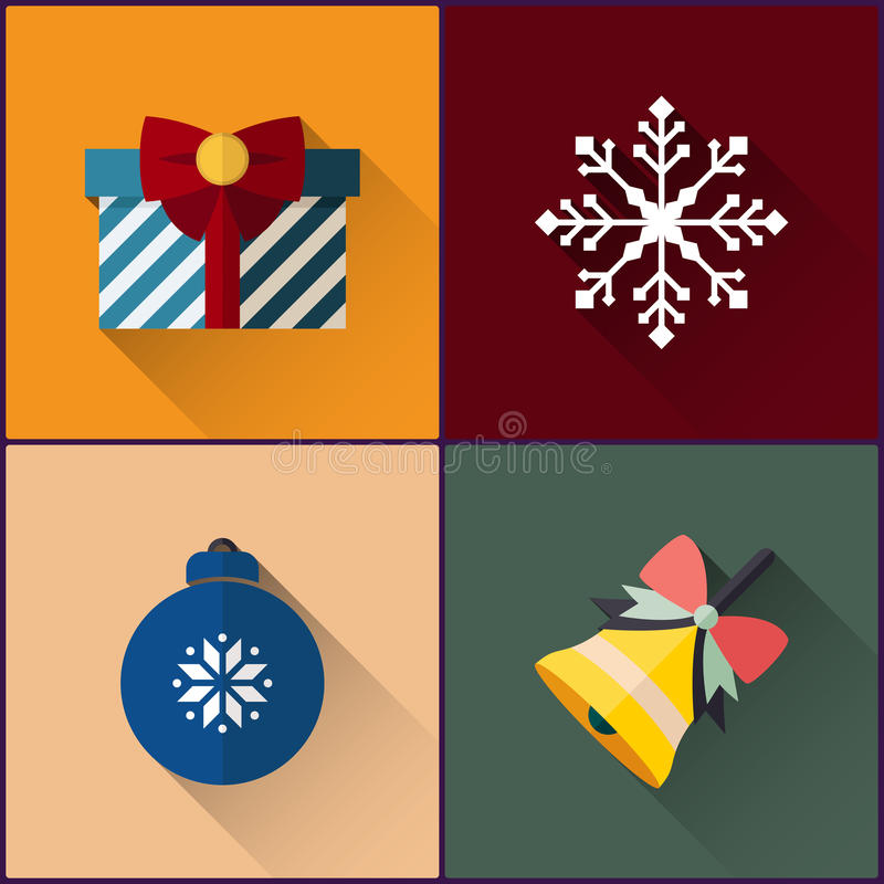新年象组装包括圣诞节铃声、球、雪花和礼物 库存例证