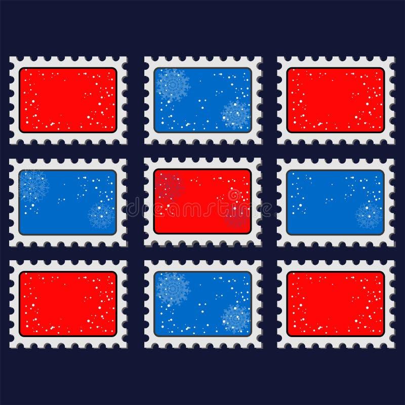 2016年 新年邮票模板 邮票与2016标志的象模板的例证 皇族释放例证