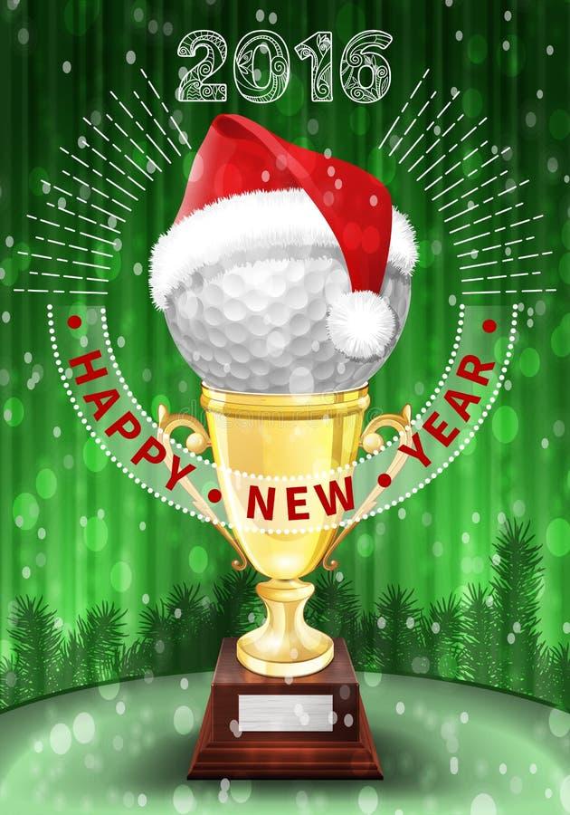 新年2016高尔夫球装饰了贺卡 向量例证
