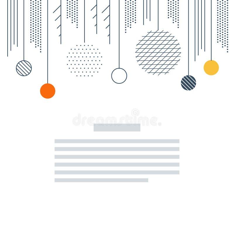 新年,圣诞卡模板 Xmas minimalistic装饰传染媒介 库存例证
