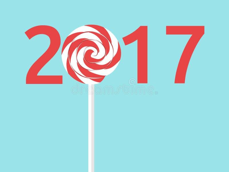 新年2017年,棒棒糖 库存例证