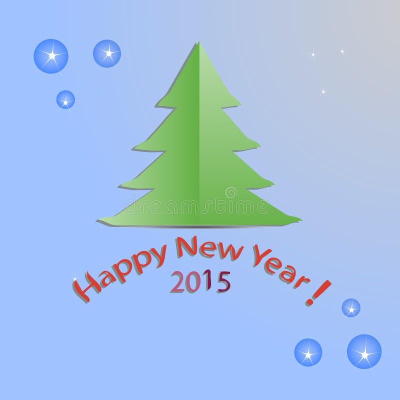 新年, gree,圣诞节,树,在蓝色背景,平,设计,传染媒介例证 库存例证