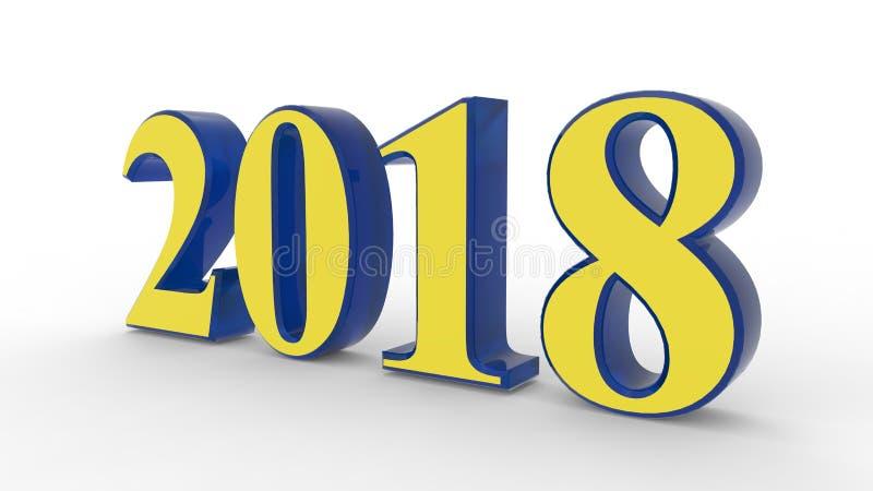 新年2018 3d 向量例证