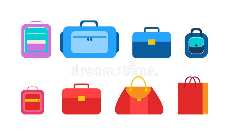 方便袋子和包裹学生的被设置 向量例证
