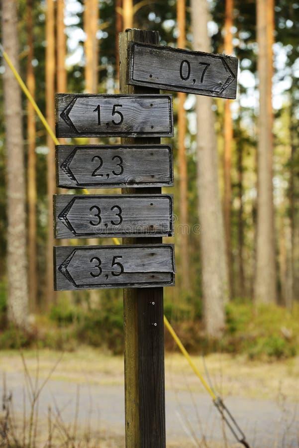 方向和距离的木标志 免版税库存图片