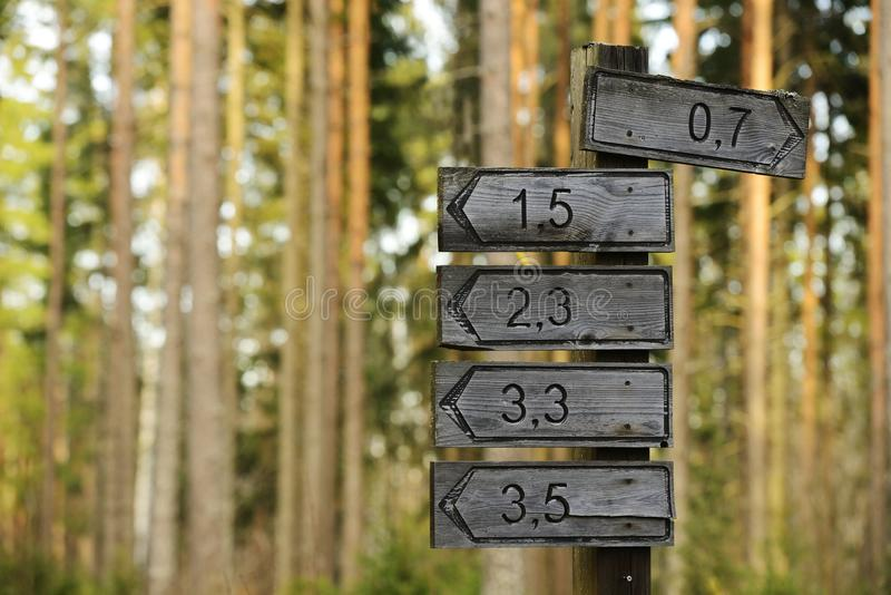方向和距离的木标志 库存图片