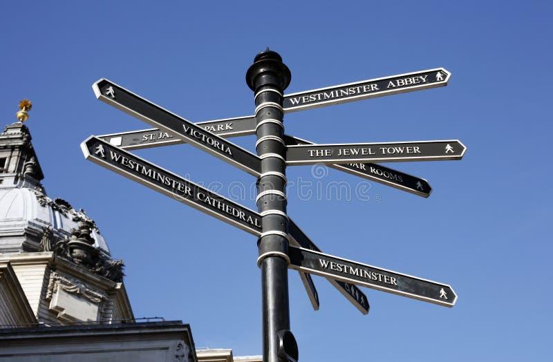 方向指南伦敦过帐街道 免版税库存图片