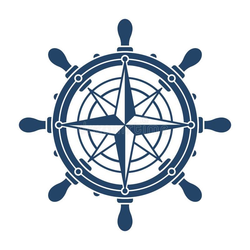 方向盘和conpass玫瑰色航海标志 库存照片