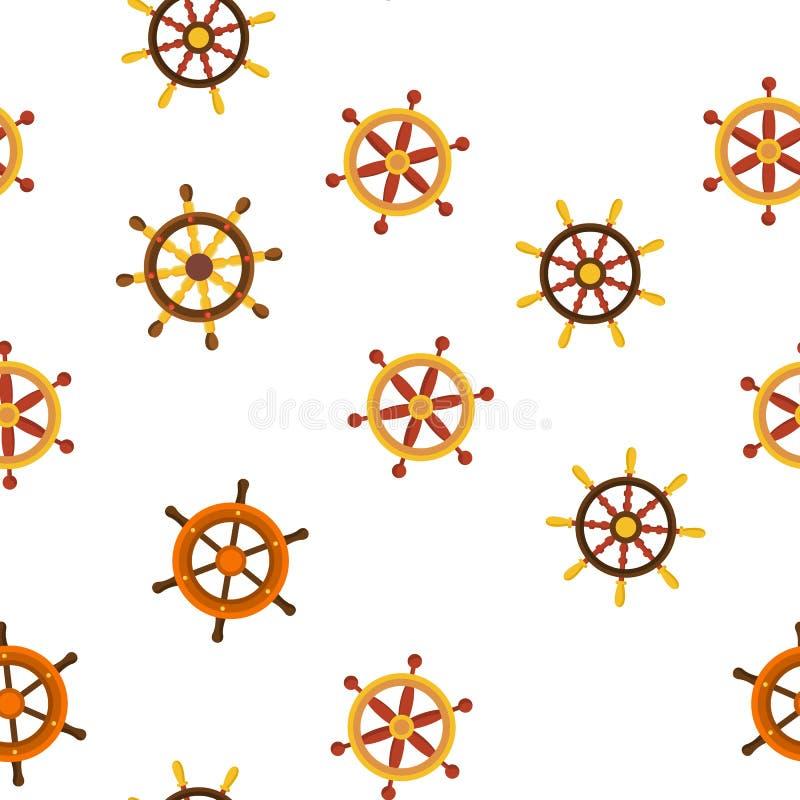 方向盘,船舵线性传染媒介无缝的样式 向量例证